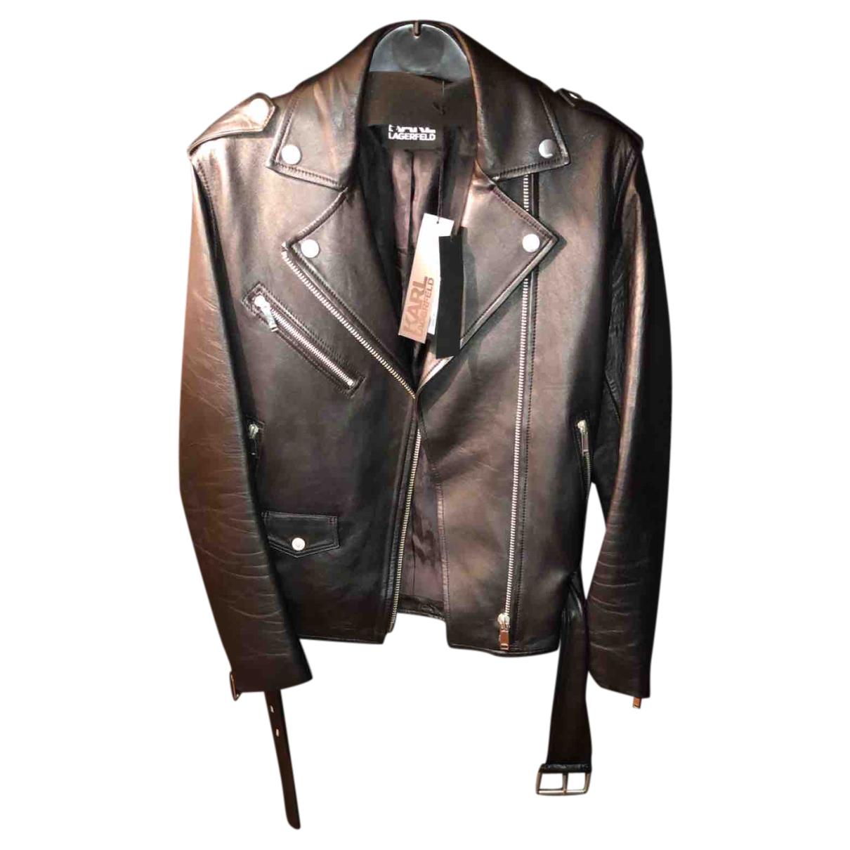 Karl Lagerfeld - Veste   pour femme en cuir - noir