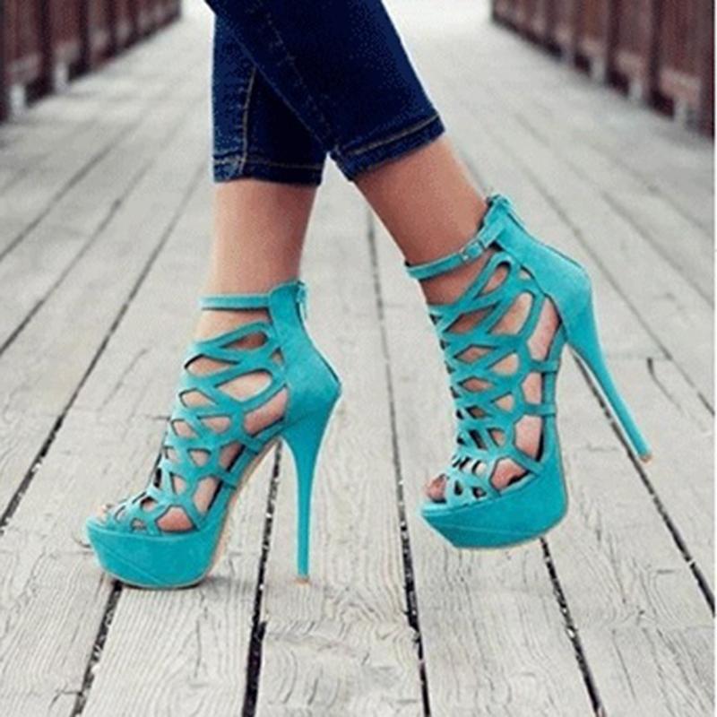 Ericdress Black Butterfly Cut-Outs Stiletto Heel Peep Toe Sandals