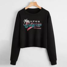 Pullover mit tropischer und Buchstaben Grafik