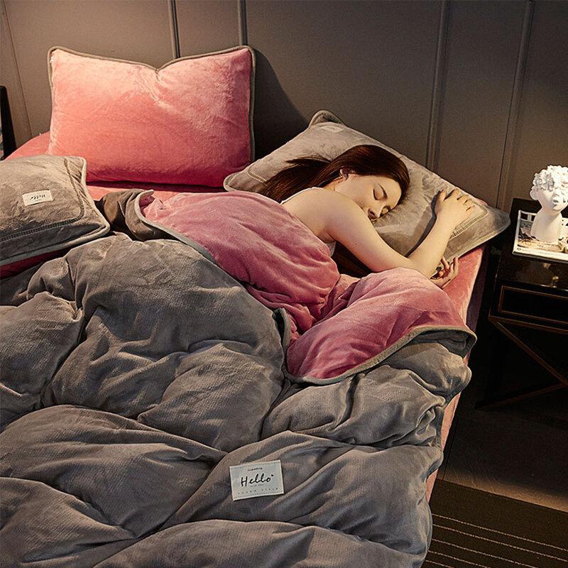 Milk Velvet Duvet Cover Bedding Comforter cover Bedding Cover 4 Pcs Set Winter Warm Milk Velvet Bedding