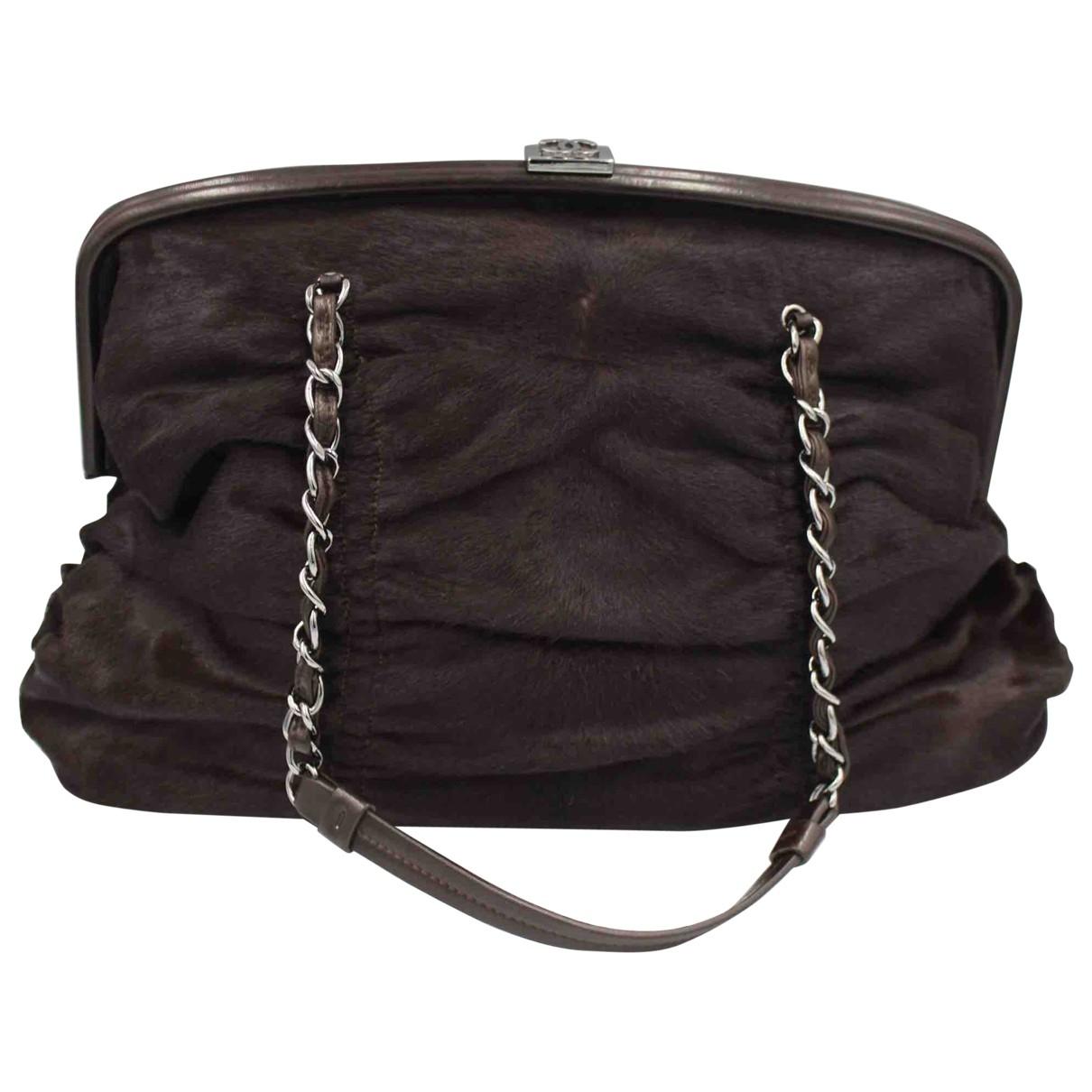 Chanel - Sac a main   pour femme en veau facon poulain - noir