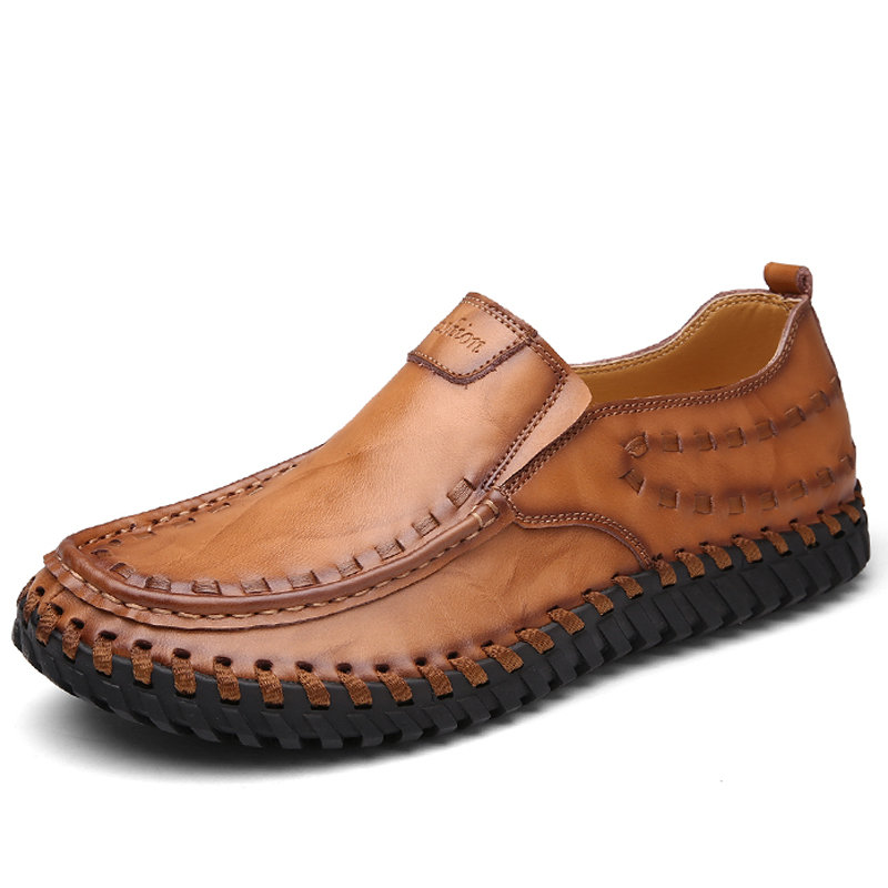 Men Classic Hand Stitching Soft Sole Slip On Casual Leather Shoes