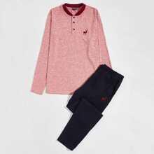 Men Animal Embroidery Button Front Tee & Pants PJ Set