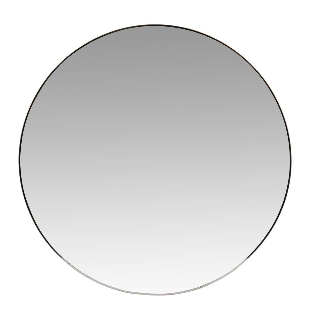 Runder Spiegel mit silberfarbenem Metallrahmen D70