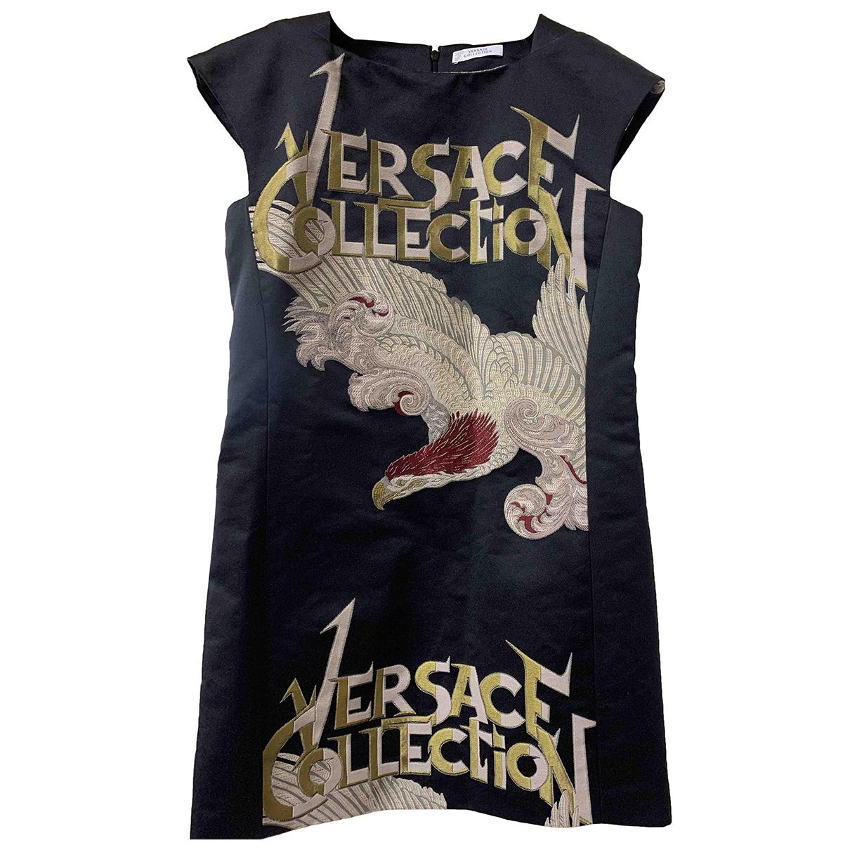 Versace \N Kleid in  Schwarz Baumwolle