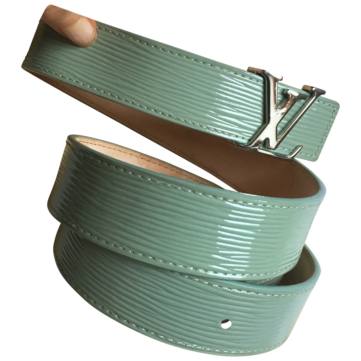 Louis Vuitton \N Turquoise Patent leather belt for Women 90 cm