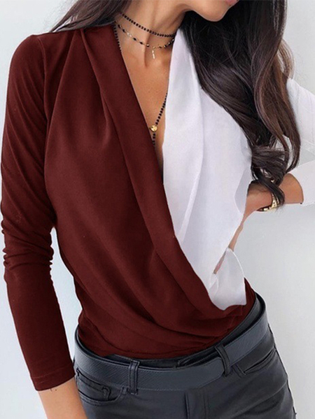 Yoins Patchwork Deep V Neck Long Sleeves Blouse