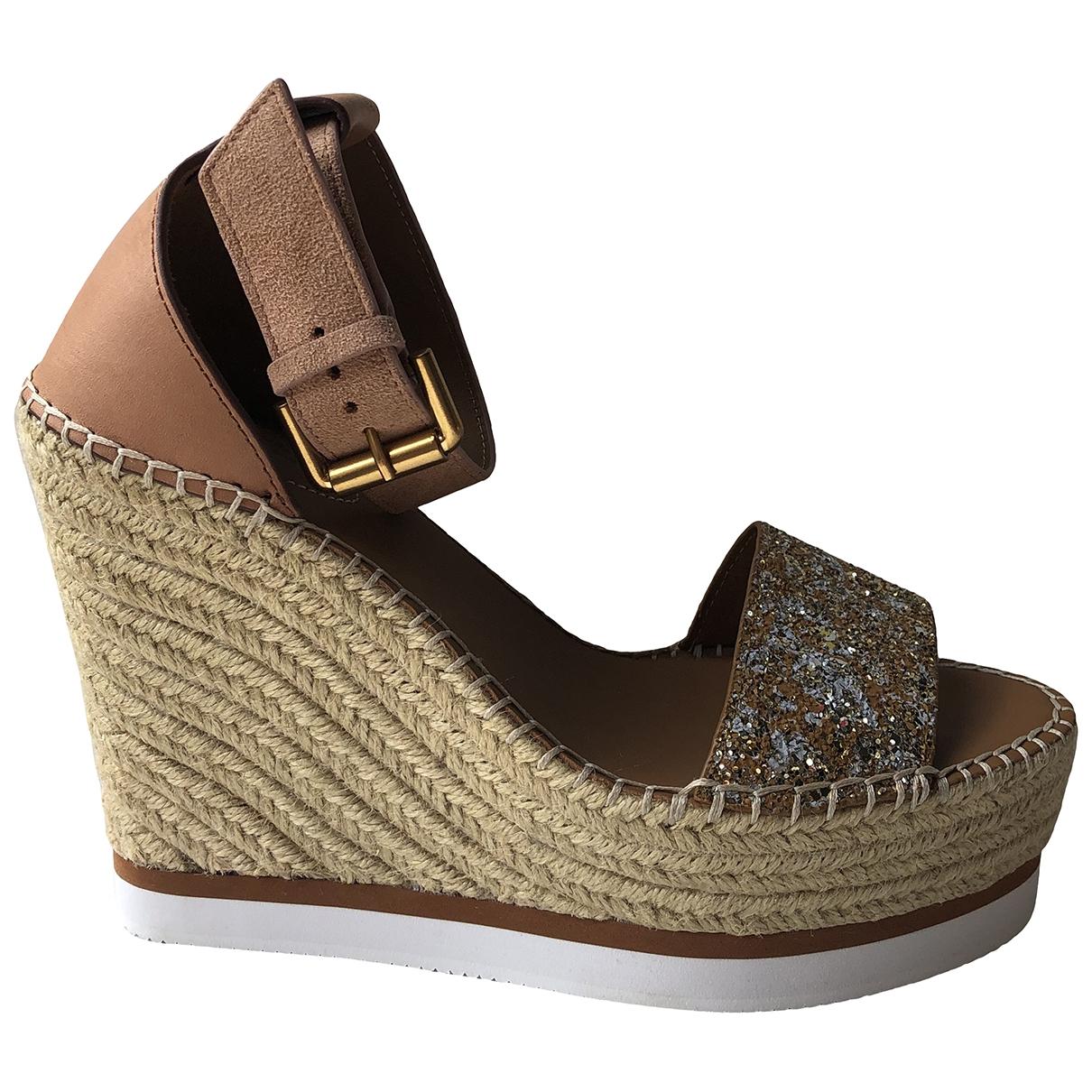 See By Chloé \N Camel Glitter Sandals for Women 39 EU