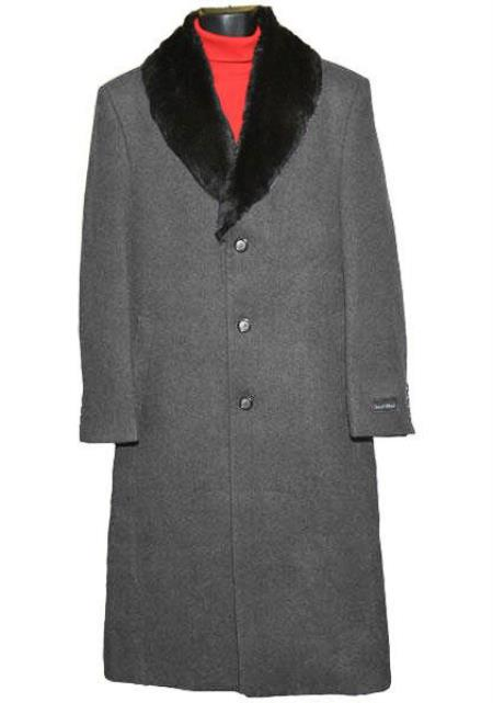 Mens Collar 3Button Single Breasted Charcoal Grey Wool Length Overcoat