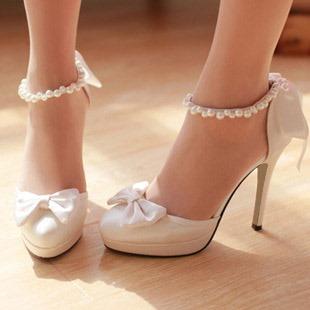 Ericdress Silk Fabric Beads Round Toe Wedding Shoes