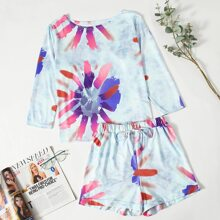 Floral & Tie Dye Print Shorts PJ Set