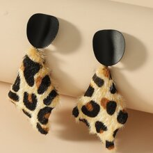 Leopard Pattern Geo Drop Earrings