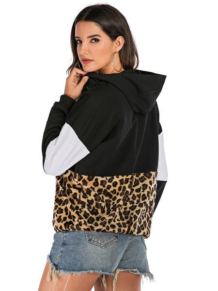 Milanoo Sudadera con capucha para mujer, color burdeos, manga larga, estampado de leopardo, algodon, invierno, sudadera con capucha