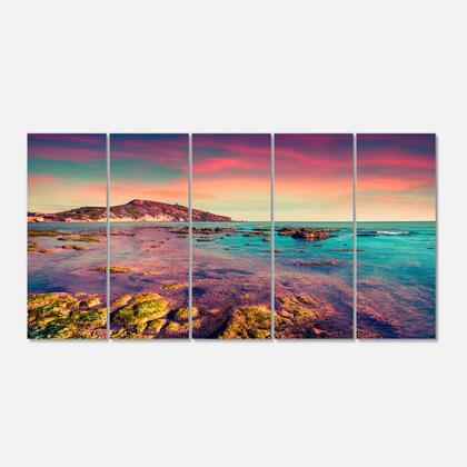 PT9091-401 Giallonardo Beach Colorful Sunset - Seashore Photo Canvas Print - 60X28- 5