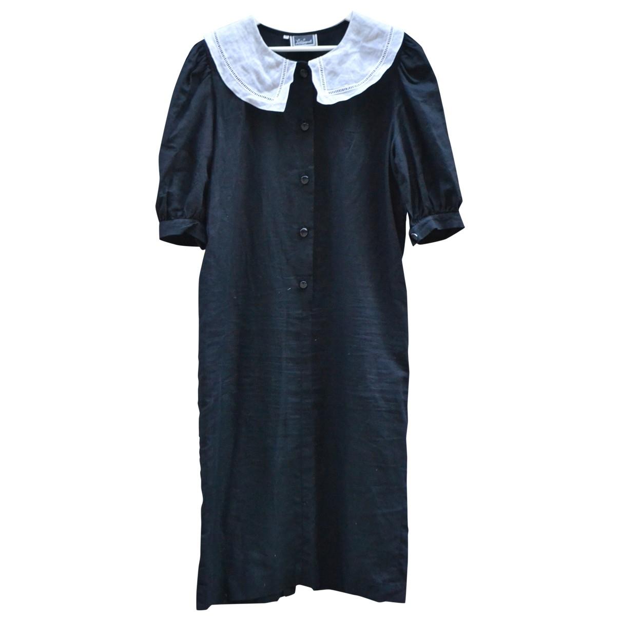 Non Signe / Unsigned \N Kleid in  Schwarz Leinen