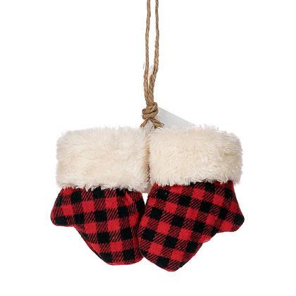 Christmas Buffalo Plaid Mittens Ornament, 4''