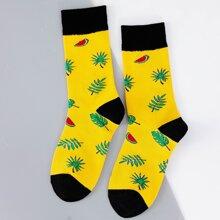 Maenner Socken mit Blatt Muster