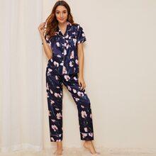 Pajama Set mit Blumen und Blatt Muster