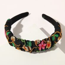 Flower Embroidery Hair Hoop