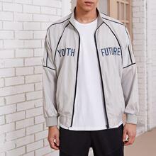 Men Letter Graphic Contrast Binding Jacket
