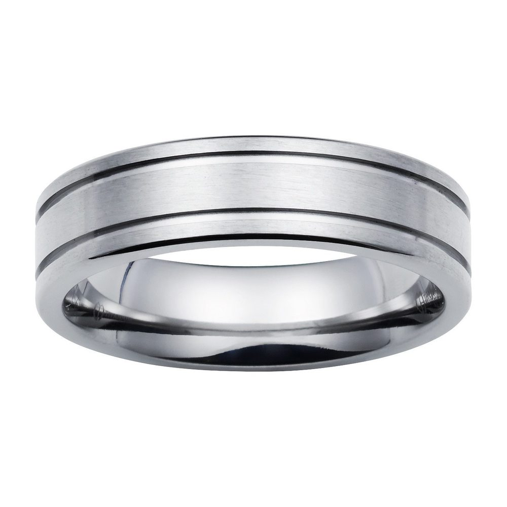 Boston Bay Diamonds Men's 6MM Comfort Fit Titanium Wedding Band Ring w/ Double Channel Accent (9.5)
