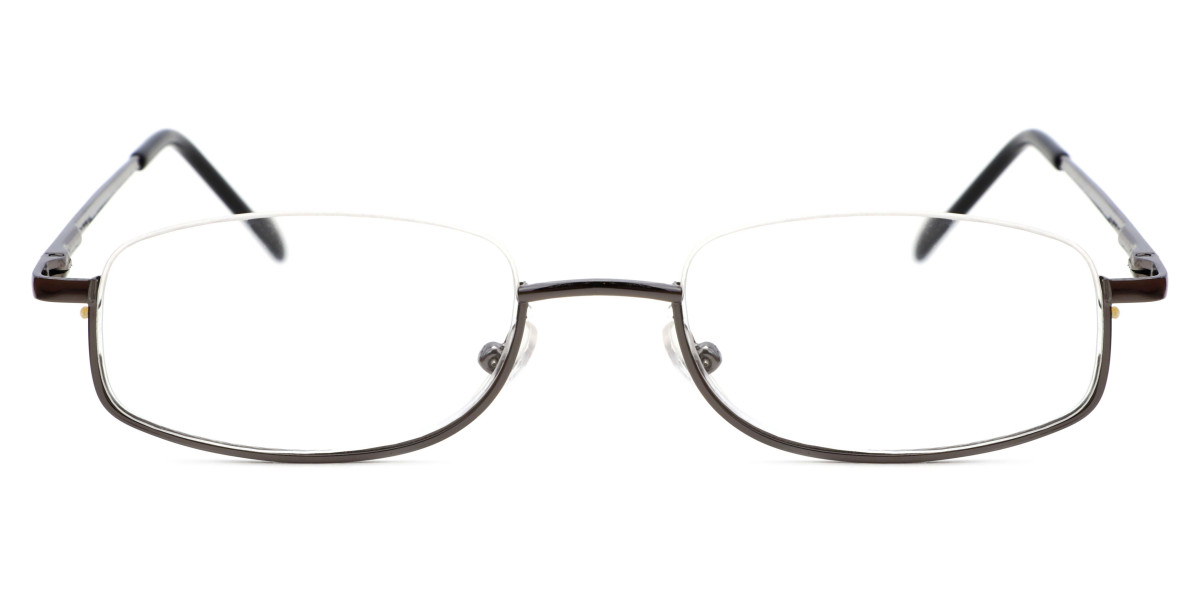 Oval Semi Rimless Metal Men's Glasses Discount Black Size +3.00 - Free Lenses - HSA/FSA Insurance - Blue Light Block Available - SmartBuy Readers