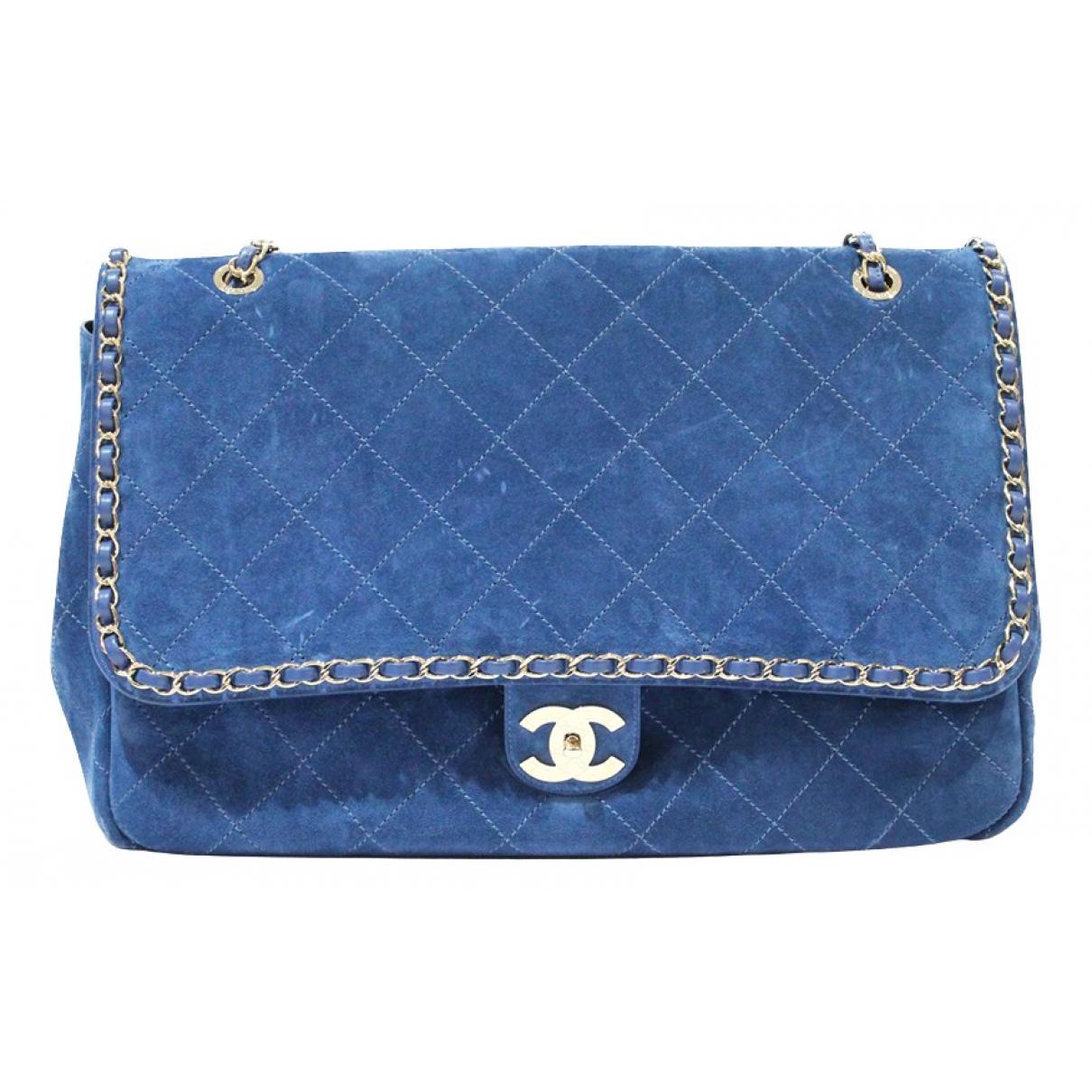 Chanel Timeless/Classique Handtasche in  Blau Veloursleder