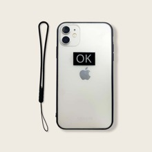 Letter Graphic Transparent iPhone Case With Lanyard