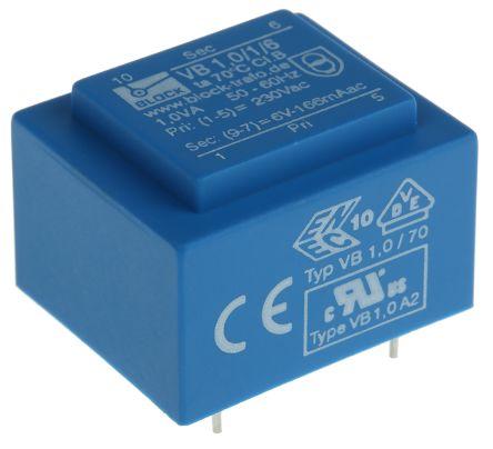 Block 6V ac 1 Output Through Hole PCB Transformer, 1VA