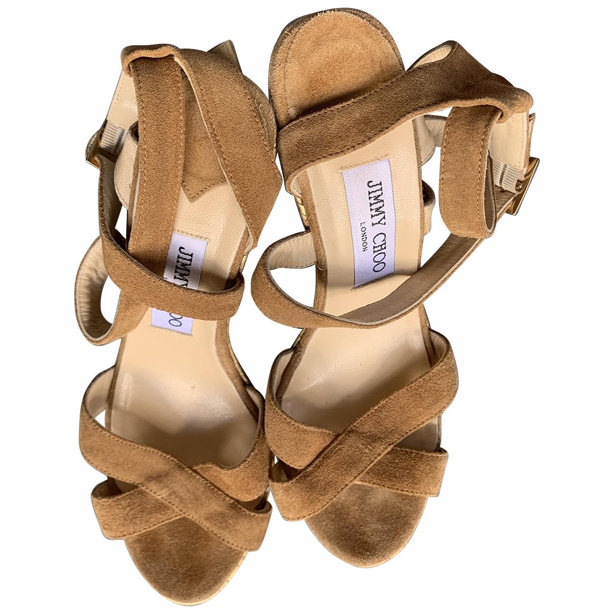 Miu Miu - Sandales   pour femme en velours - camel
