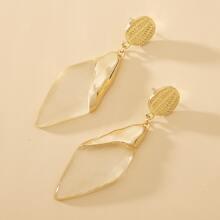 Clear Geometric Drop Earrings