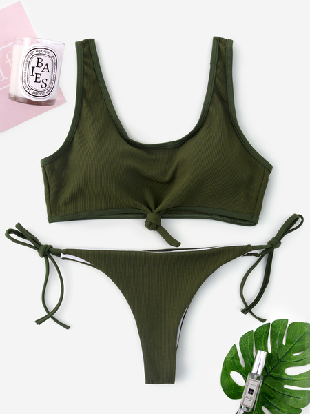 Yoins Green Knotted Front Tie-up Design String Bikini