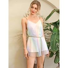 HouseOfChic Ombre Cami Kleid mit Kette, Guertel, Stufensaum und Netzstoff