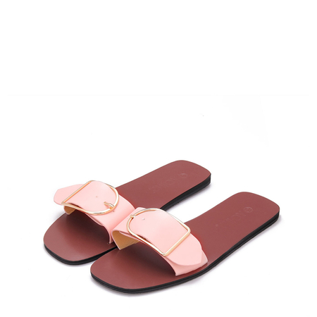 Yoins Pink One Pin Buckle Strap Simple Slippers