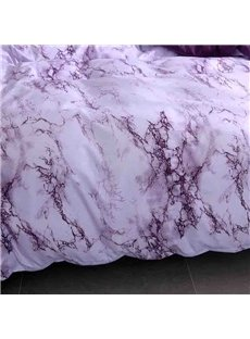 Purple Marbling Pattern Soft And Cozy 3-Piece Polyester Bedding Sets Colorfast Duvet/Comforter Cover with Zipper and Non-slip Ties