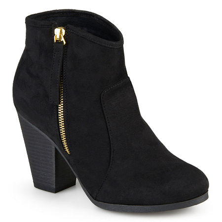Journee Collection Womens Link Booties Stacked Heel Wide Width, 8 1/2 Wide, Black