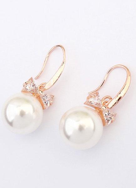 Milanoo White Wedding Earrings Vintage Dangle Earrings Bow Alloy Pierced Bridal Earrings