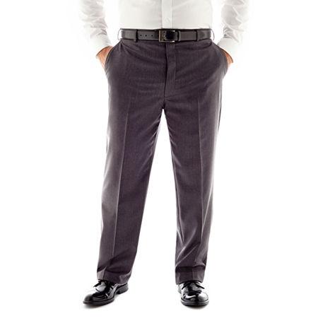 Stafford Travel Medium Blue Flat-Front Suit Pants-Big & Tall, 46 32, Gray
