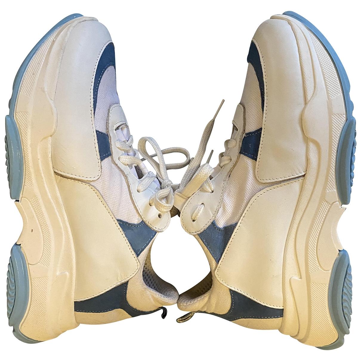Zara - Baskets   pour femme en cuir - blanc