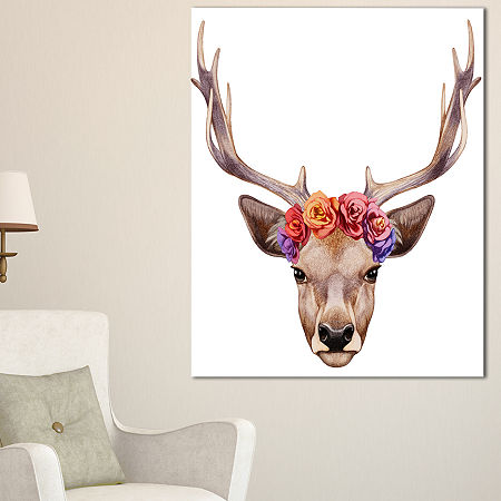 Designart Designart Deer Portrait With Floral Head Canvas Art, One Size , Brown