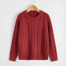 Boys Solid Cable Knit Sweater