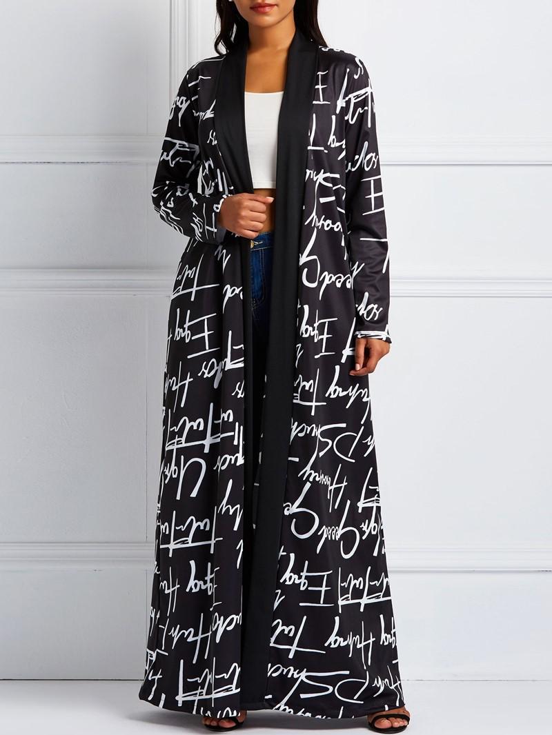 Ericdress Long V-Neck Print Long Sleeve Regular Trench Coat