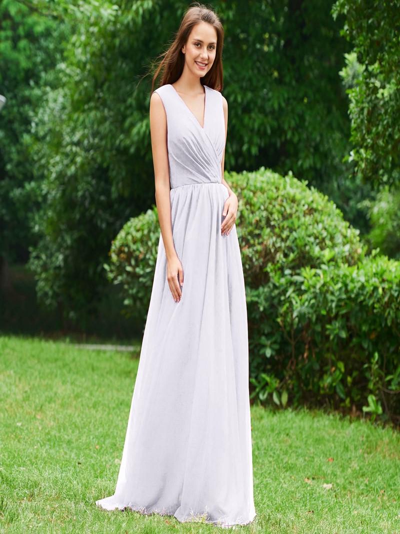 Ericdress A Line V Neck Backless Long Evening Dress