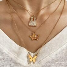 Mehrschichtige Halskette mit Strass, Verschluss & Schmetterling Anhaenger