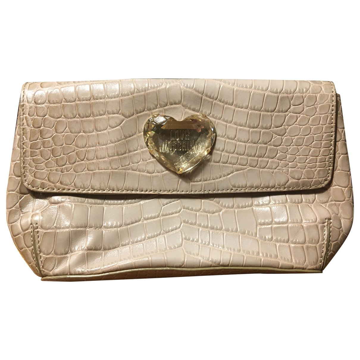 Moschino Love \N Clutch in  Ecru Leder