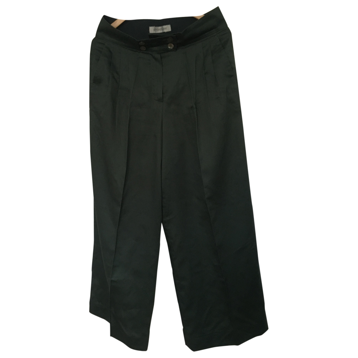 Sport Max \N Green Cotton Trousers for Women 42 FR