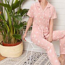 Conjunto de pijama con bolsillo doble con estampado de planta