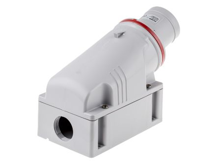 RS PRO IP44 Red Wall Mount 3P+E Industrial Power Plug, Rated At 63.0A, 415.0 V