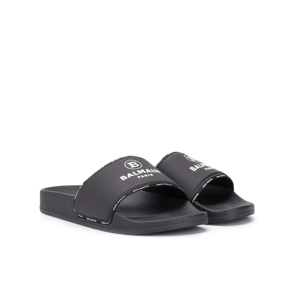 Balmain Logo Sliders Colour: BLACK, Size: 38