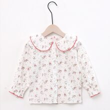 Toddler Girls Ditsy Floral Peter Pan Collar Button Front Blouse